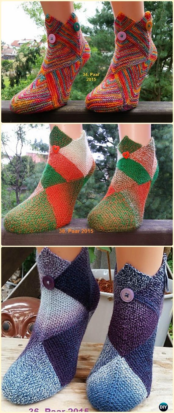 Knit Patchwork Slipper Boots Free Pattern - Knit Adult Slippers Free Patterns