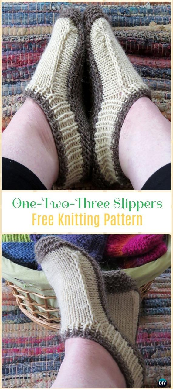 Knit One-Two-Three Slippers Free Pattern - Knit Adult Slippers Free Patterns