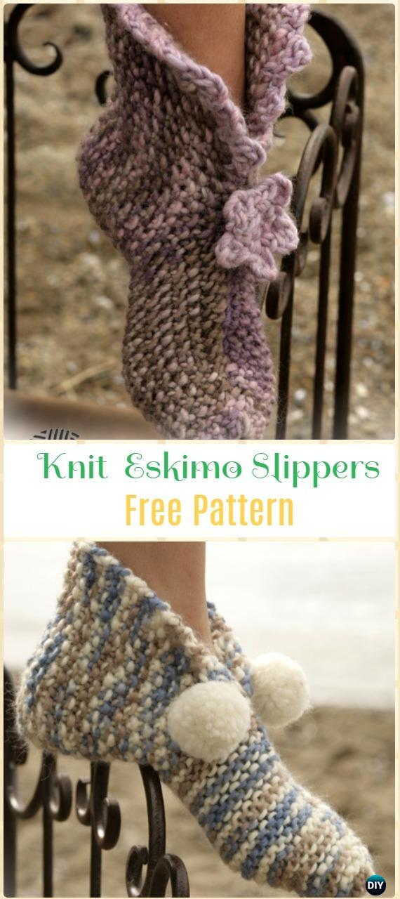 Knit Eskimo Slippers Free Pattern - Knit Adult Slippers Free Patterns