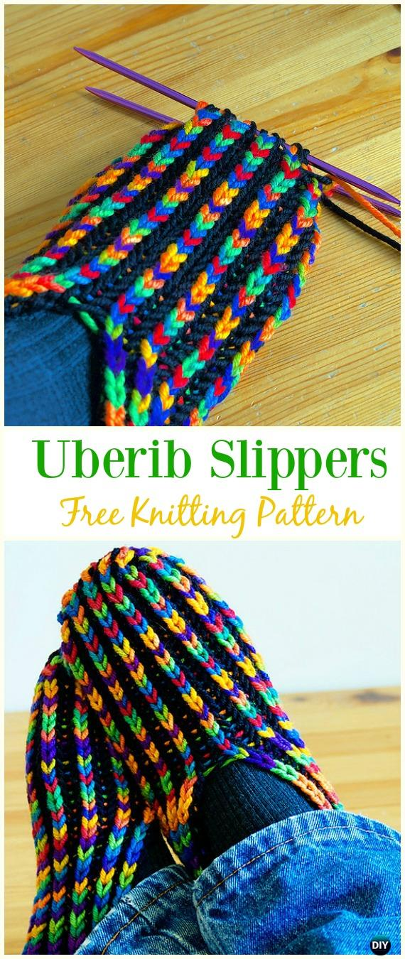 UberibSlippers Free Knitting Pattern - #Kniting; Adult #Slippers Free Patterns