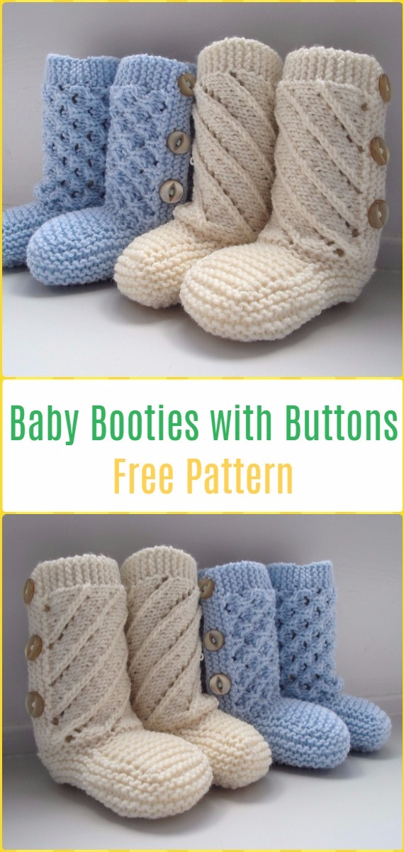 Knit Baby Booties with Buttons Free Pattern - Knit Ankle High Baby ...