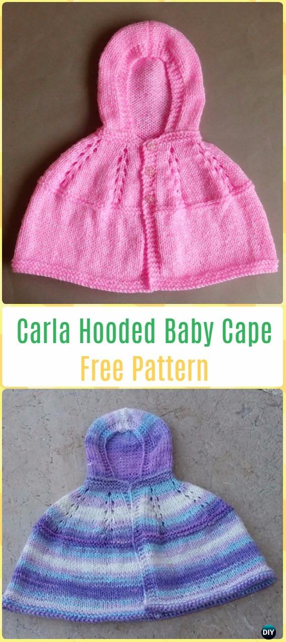 Knit Carla - Hooded Baby Cape Free Pattern - Knit Baby Sweater Outwear Free Patterns