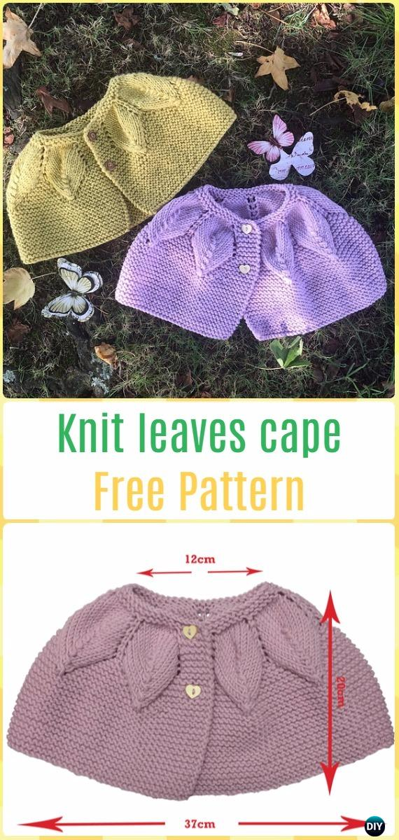 Knit Leaves Cape Free Pattern - Knit Baby Sweater Outwear Free Patterns