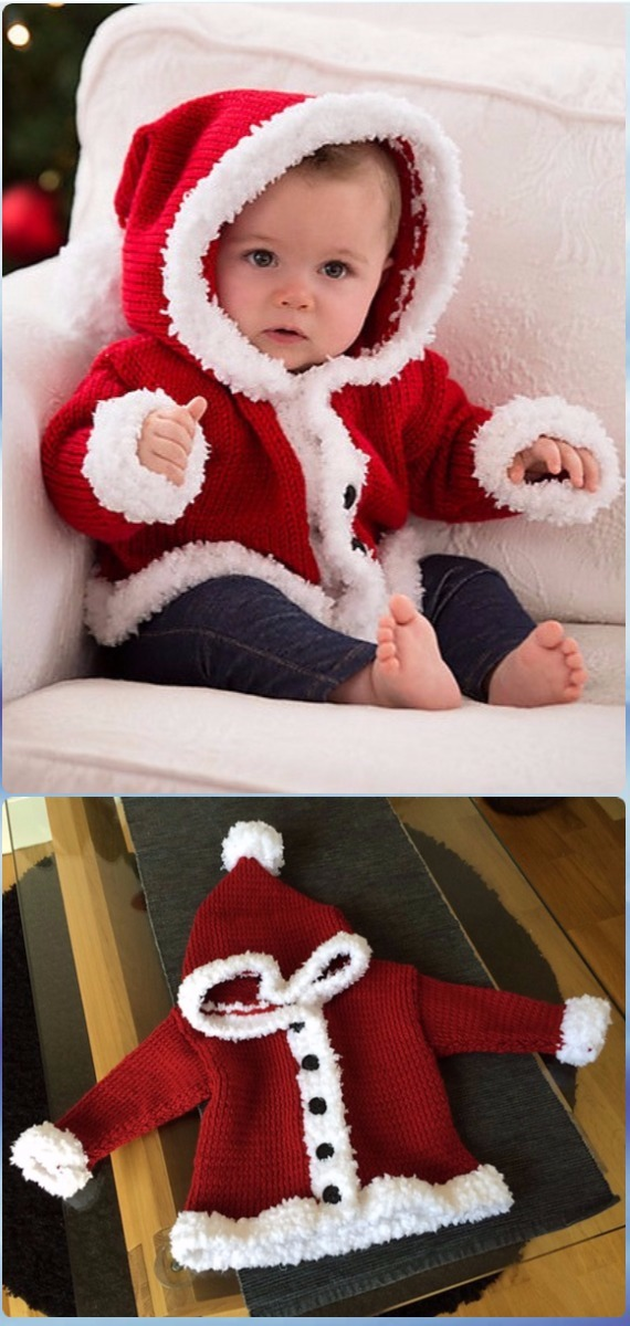 Knit Santa Baby Sweater Free Pattern - Knit Baby Sweater Outwear Free Patterns