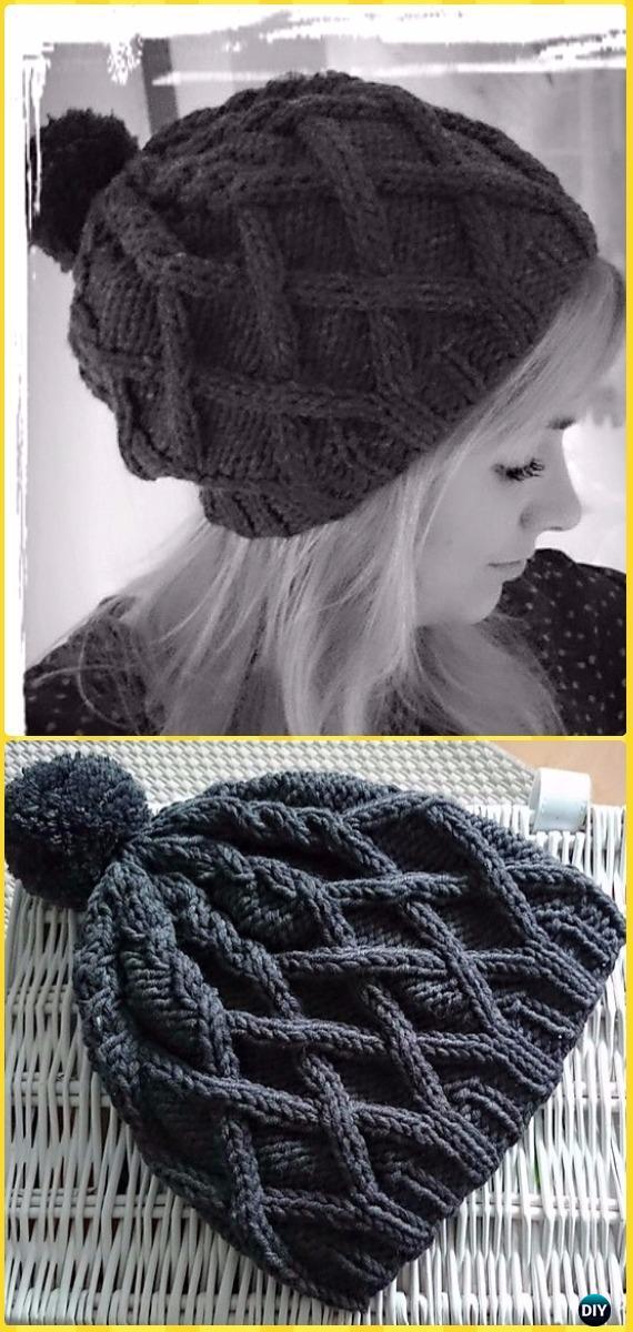 Knit Black Roxy Hat Free Pattern - Knit Beanie Hat Free Patterns