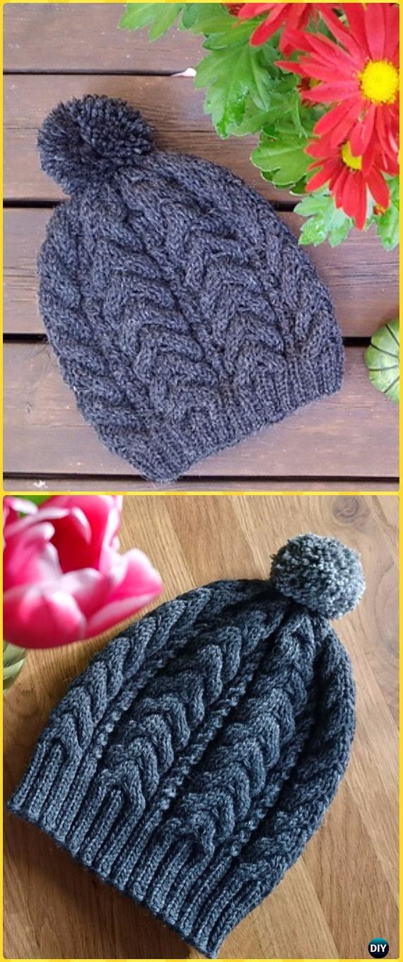 Knit Ribbed Cable Hat Free Pattern - Knit Beanie Hat Free Patterns