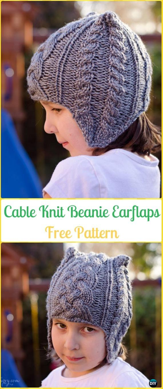 Knit Cable Earflap Beanie Hat Free Pattern - Knit Beanie Hat Free Patterns