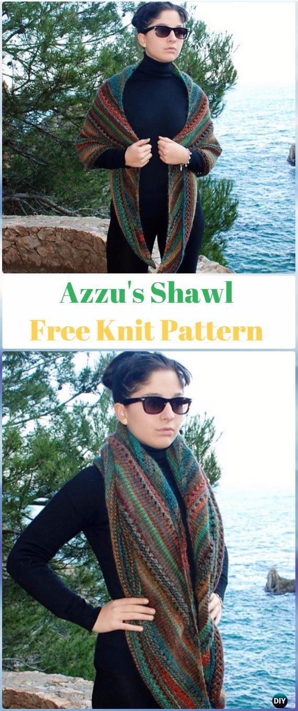 KnitAzzu's Shawl Free Pattern - Knit Scarf & Wrap Shawl Patterns