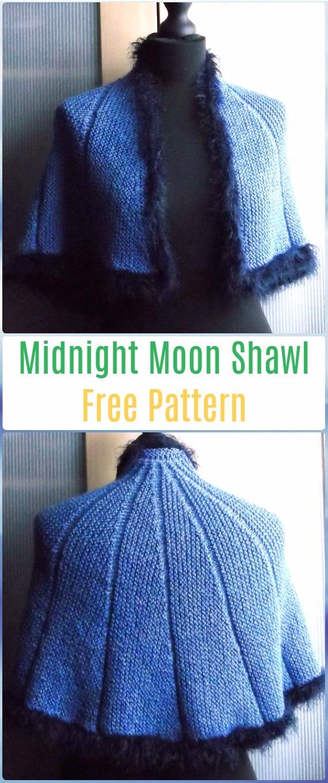 Knit Midnight Moon Shawl Free Pattern - Knit Scarf & Wrap Shawl Patterns