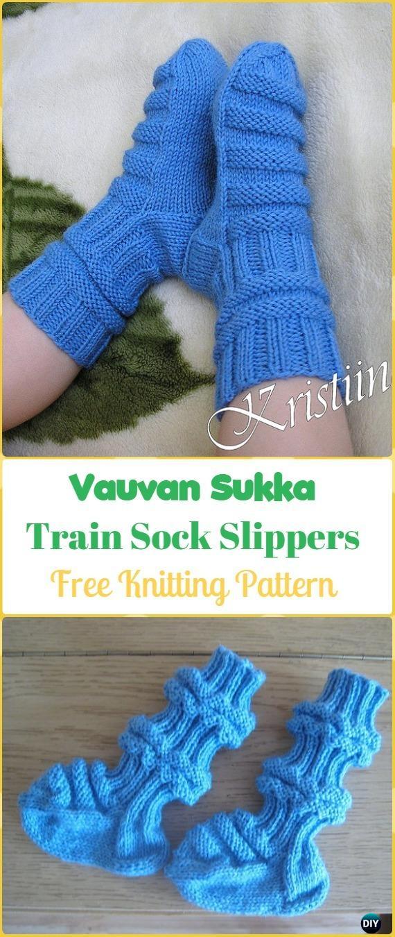 Knit Vauvan Sukka Train Sock Slippers Free Pattern Knit Slippers