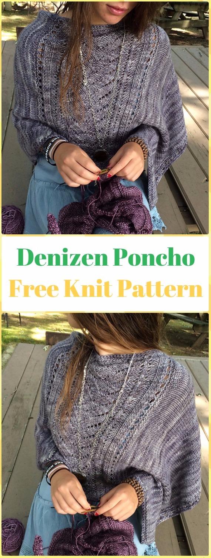 Knit Denizen Poncho FreePattern - Knit Women Capes & Poncho Free Patterns