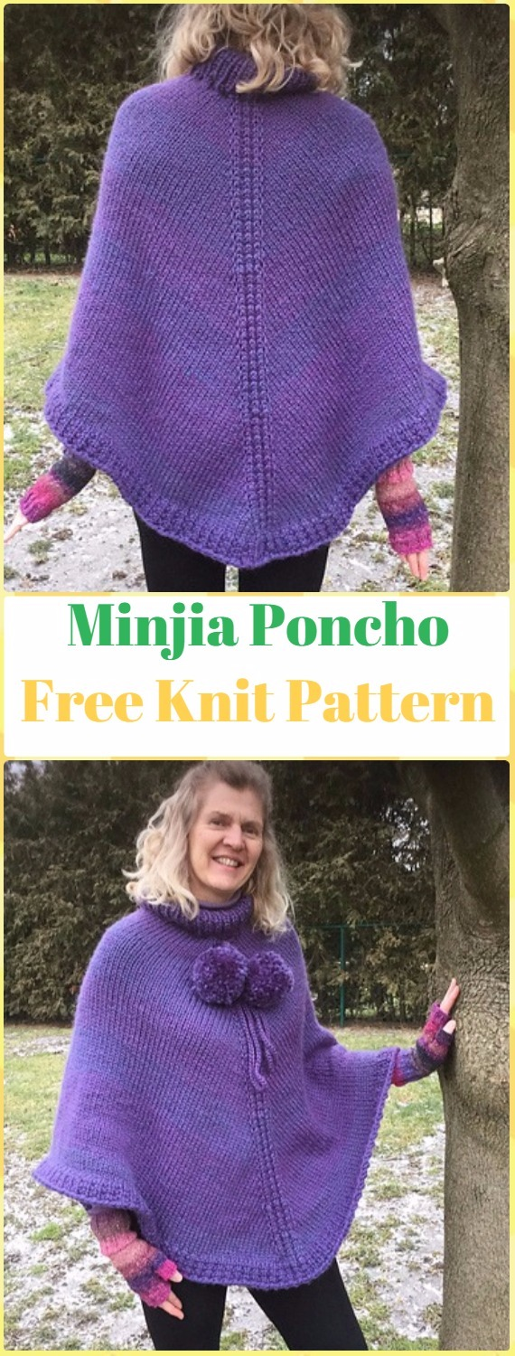 Knit Minjia Poncho Free Pattern - Knit Women Capes & Poncho Free Patterns