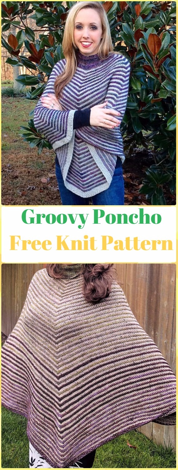 Knit Groovy Poncho Free Pattern - Knit Women Capes & Poncho Free Patterns