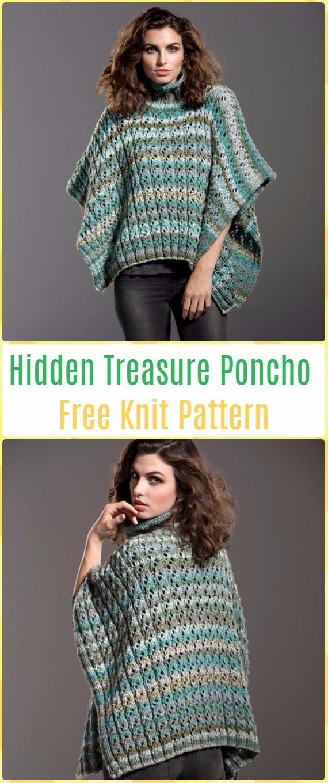 Knit Hidden Treasure Poncho FreePattern - Knit Women Capes & Poncho Free Patterns