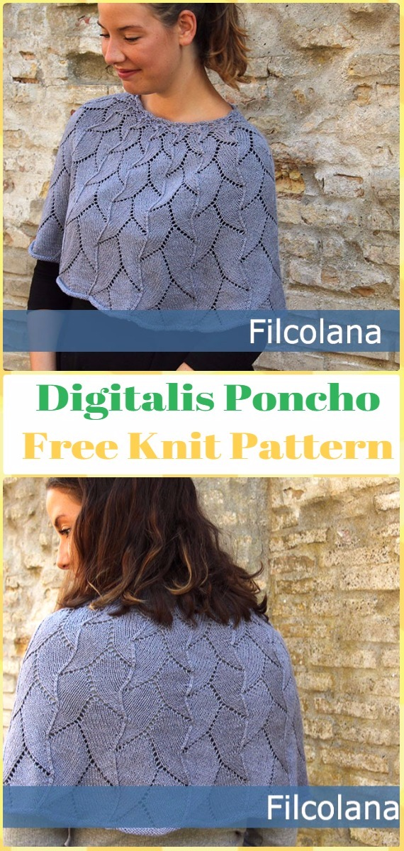Knit Digitalis Poncho Free Pattern - Knit Women Capes & Poncho Free Patterns