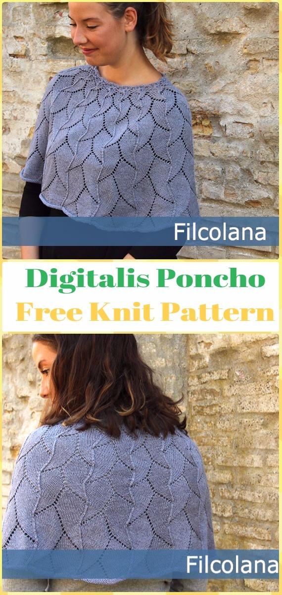 Knit Digitalis Poncho FreePattern - Knit Women Capes & Poncho Free Patterns