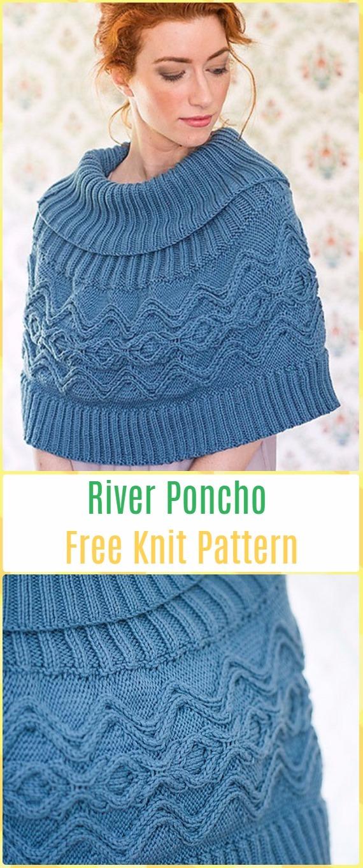 Knit River Poncho Free Pattern Knit Women Capes Poncho Free