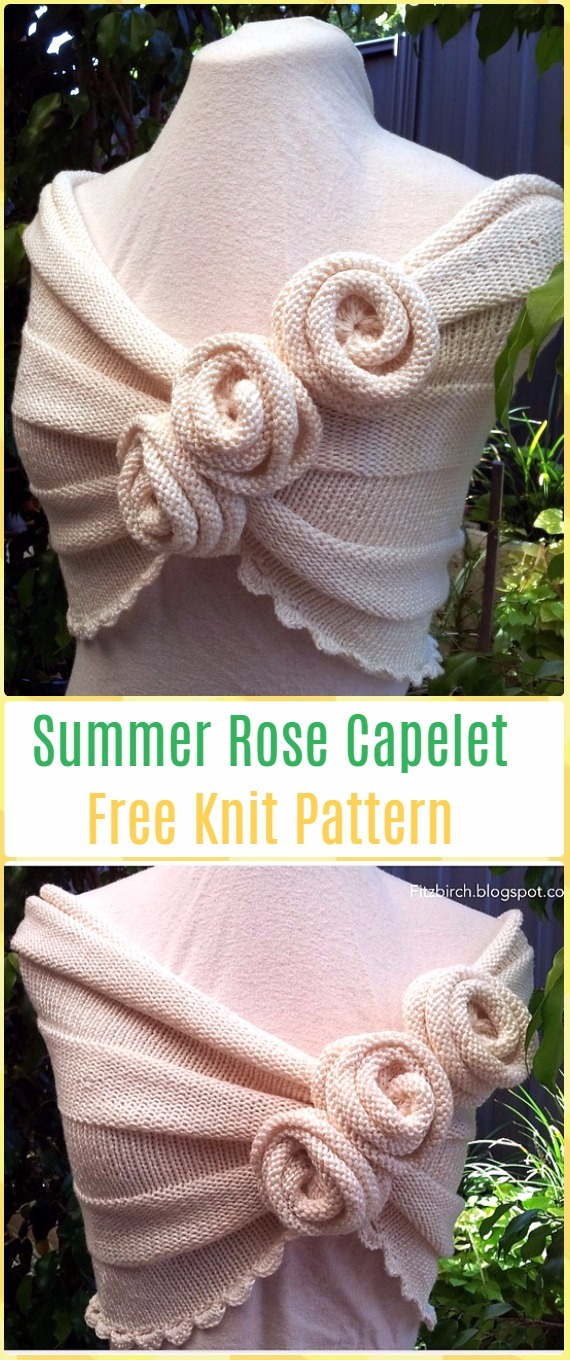 Knit Summer Rose Capelet FreePattern - Knit Women Capes & Poncho Free Patterns