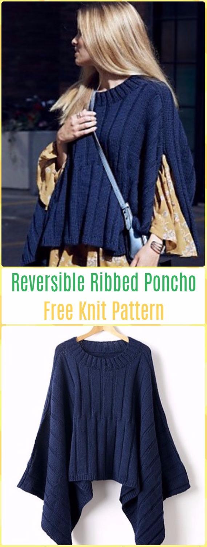 Knit Reversible Ribbed Poncho FreePattern - Knit Women Capes & Poncho Free Patterns