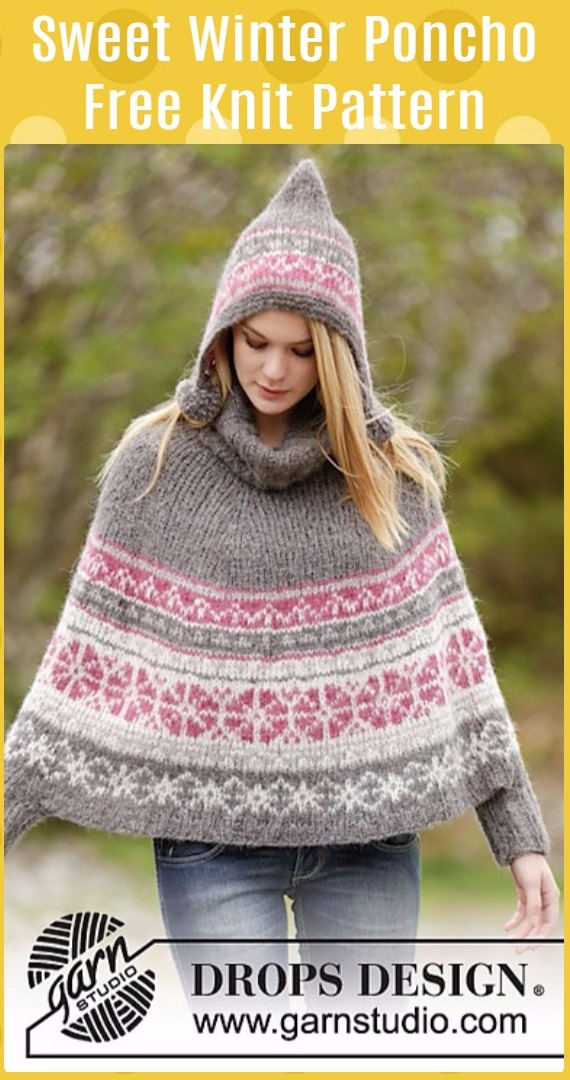 Knit Sweet Winter Poncho Free Pattern - Knit Women Capes & Poncho Free Patterns