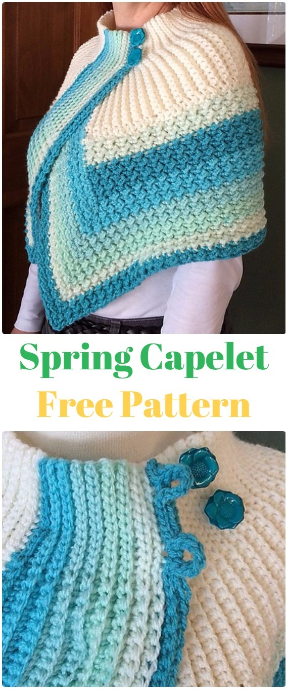 Knit Spring Capelet FreePattern - Knit Women Capes & Poncho Free Patterns