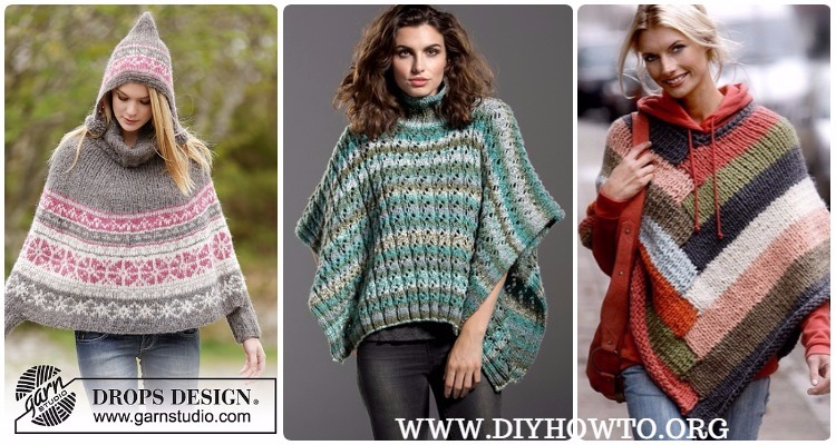 Knit Women Capes Poncho Free Patterns Instructions