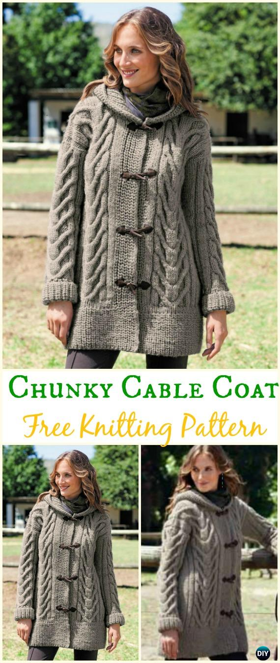 Women's Chunky Cabled Coat Sweater Free Knitting Pattern - Knit Women Cardigan Sweater Coat Free Patterns