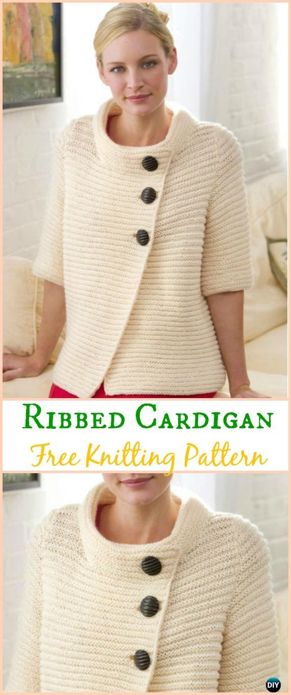 Women's Knit Ribbed Cardigan Sweater Free Knitting Pattern - Knit Women Cardigan Sweater Coat Free Patterns