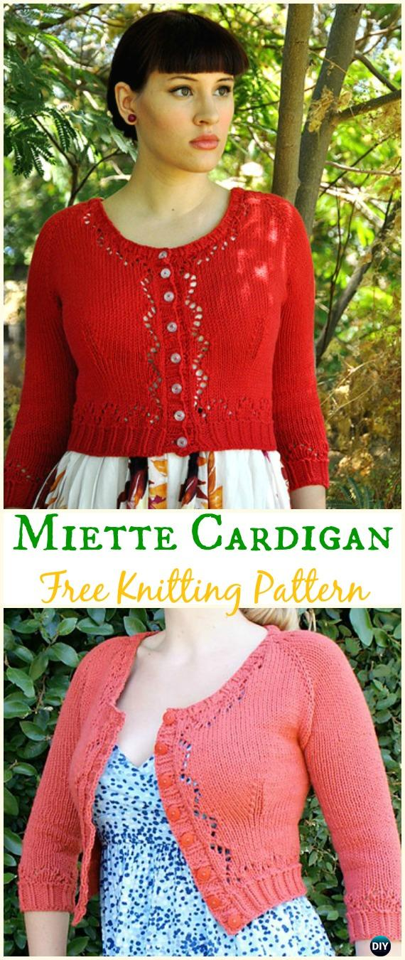 Womens Cropped Miette Cardigan Sweater Free Knitting Pattern Knit