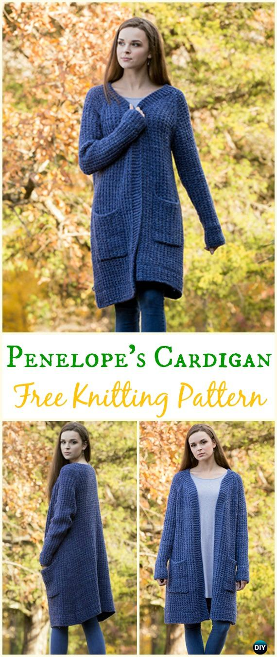 Women's Penelope's Cardigan Sweater Free Knitting Pattern - Knit Women Cardigan Sweater Coat Free Patterns