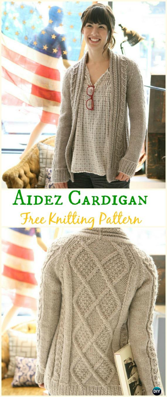 Women's Aidez Cardigan Sweater Free Knitting Pattern - Knit Women Cardigan Sweater Coat Free Patterns