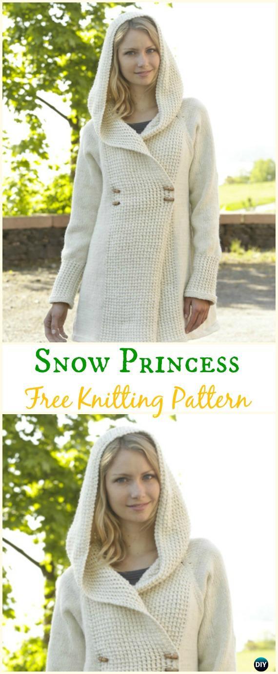Women\'s Snow Princess Jacket Hoodie Cardigan Free Knitting Pattern ...
