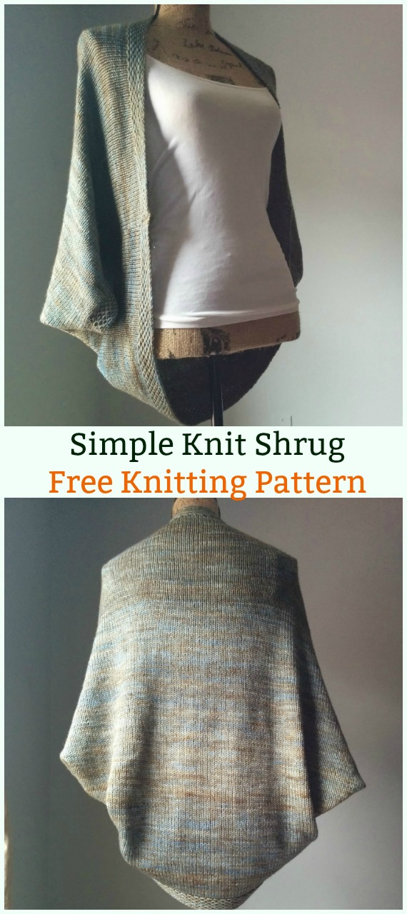 Simple Knit Shrug Cardigan Sweater Free Knitting Pattern - Women #Cardigan; Sweater Coat Free #Knitting; Patterns