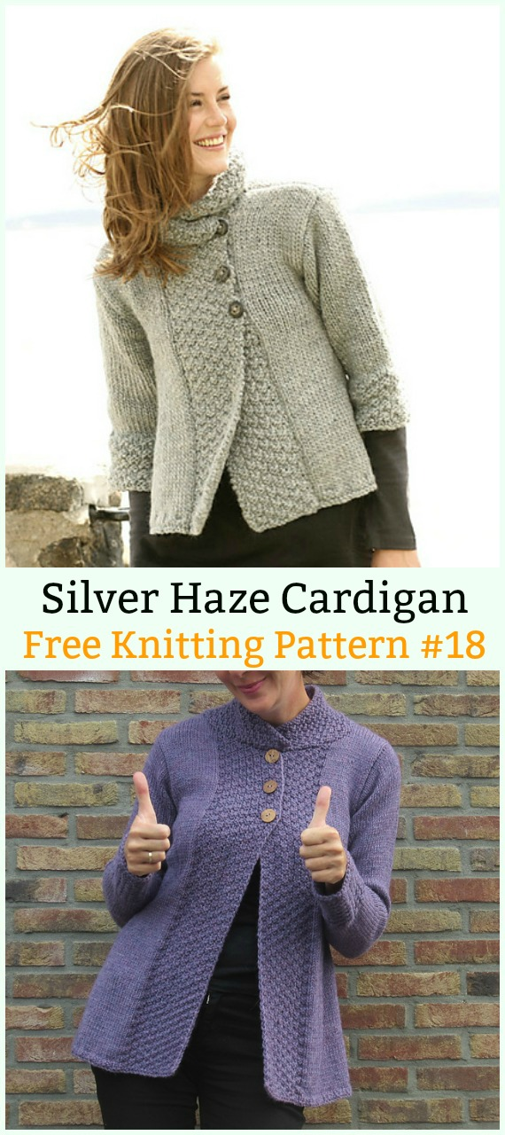Silver Haze Cardigan Sweater Free Knitting Pattern - Women #Cardigan; Sweater Coat Free #Knitting; Patterns