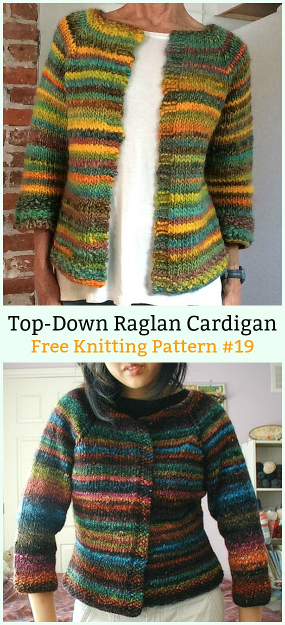 Top-Down Raglan Cardigan Sweater Free Knitting Pattern - Women #Cardigan; Sweater Coat Free #Knitting; Patterns