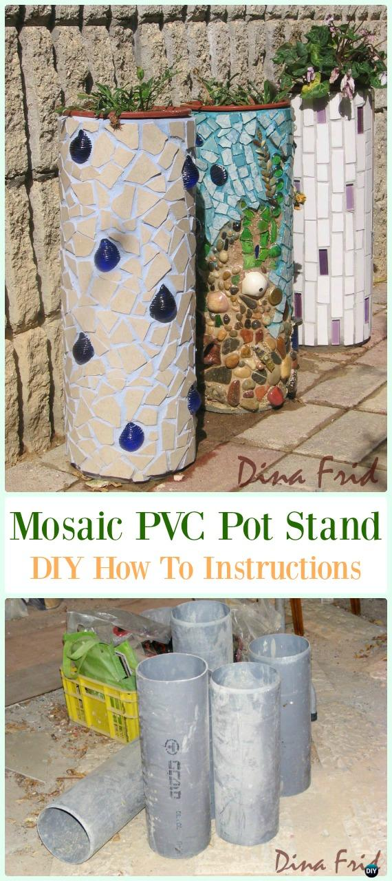 Mosaic PVC Pipe Flower Pot Stand DIY Instructions - Low Budget DIY PVC Garden Projects