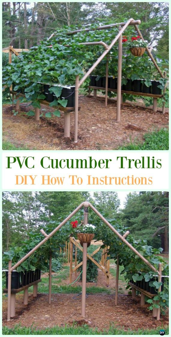 PVC Cucumber Trellis DIY Instructions - Low Budget DIY PVC Garden Projects