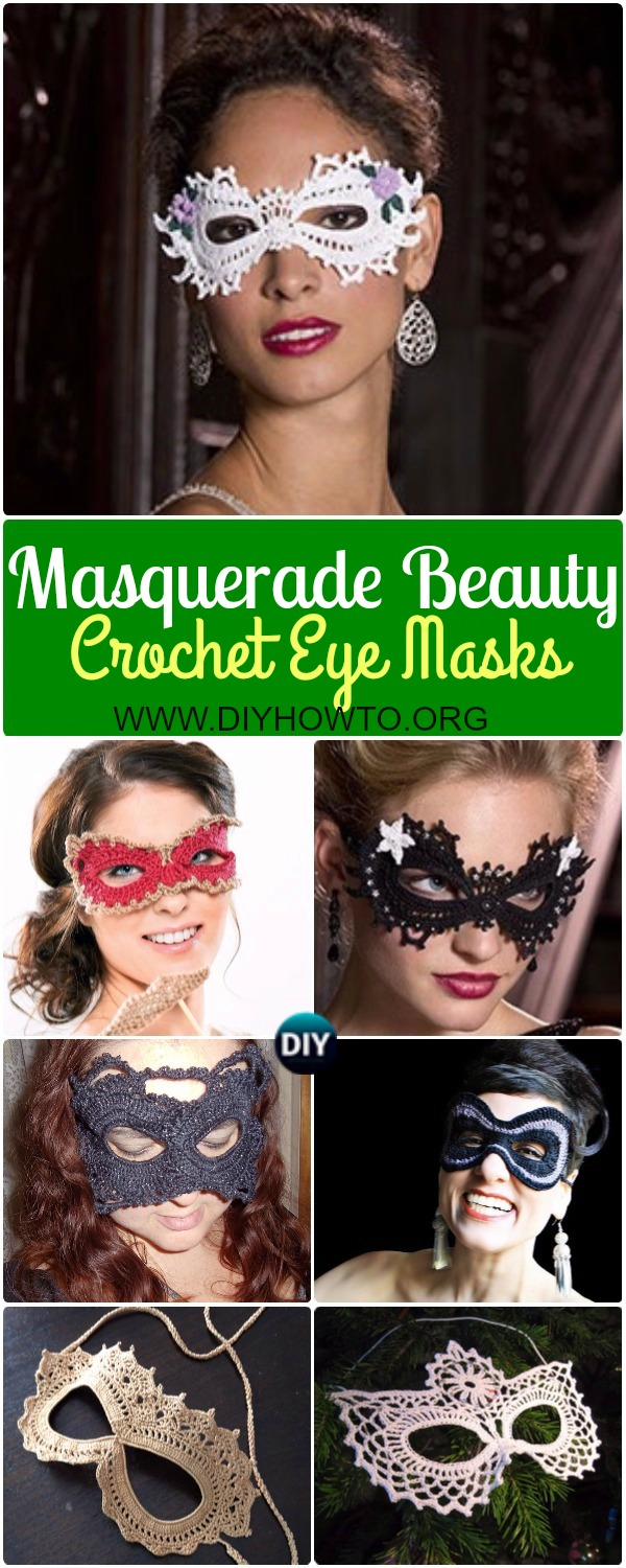 Collection of Masquerade Beauty Crochet Eye Mask Patterns Free and Paid: Crochet lace mask, bead mask, cat mask, party mask, carnival photo mask