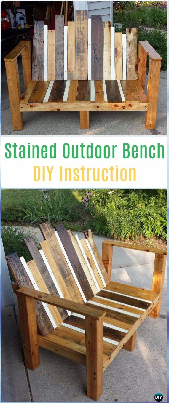 DIY Stained Outdoor Bench Instructions -DIY Outdoor Garden Bench Projects&Instructions