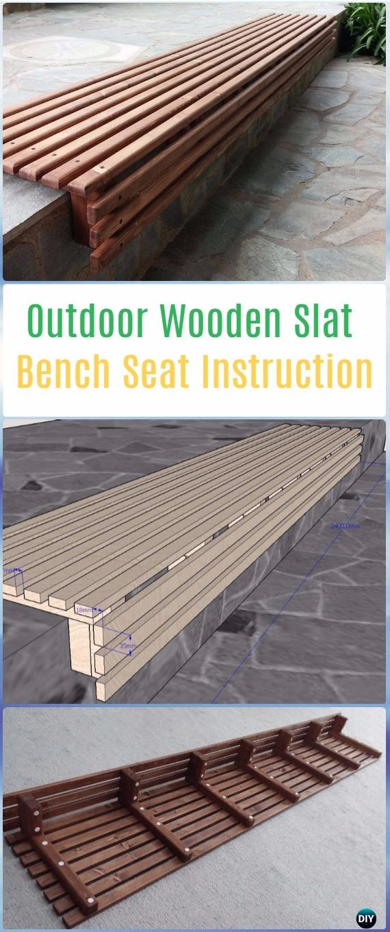 DIY Outdoor Wooden Slat Bench Seat Instructions -DIY Outdoor Garden Bench Projects&Instructions