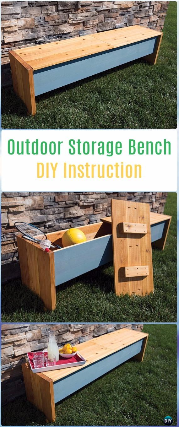 DIY Outdoor Storage Bench Instructions -DIY Outdoor Garden Bench Projects&Instructions