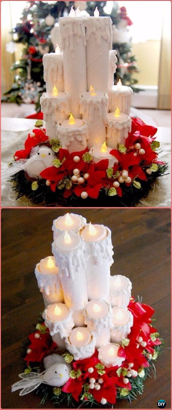 DIY Paper Roll Tea Candle Centerpiece Tutorial - Paper Roll Christmas Craft Ideas & Projects