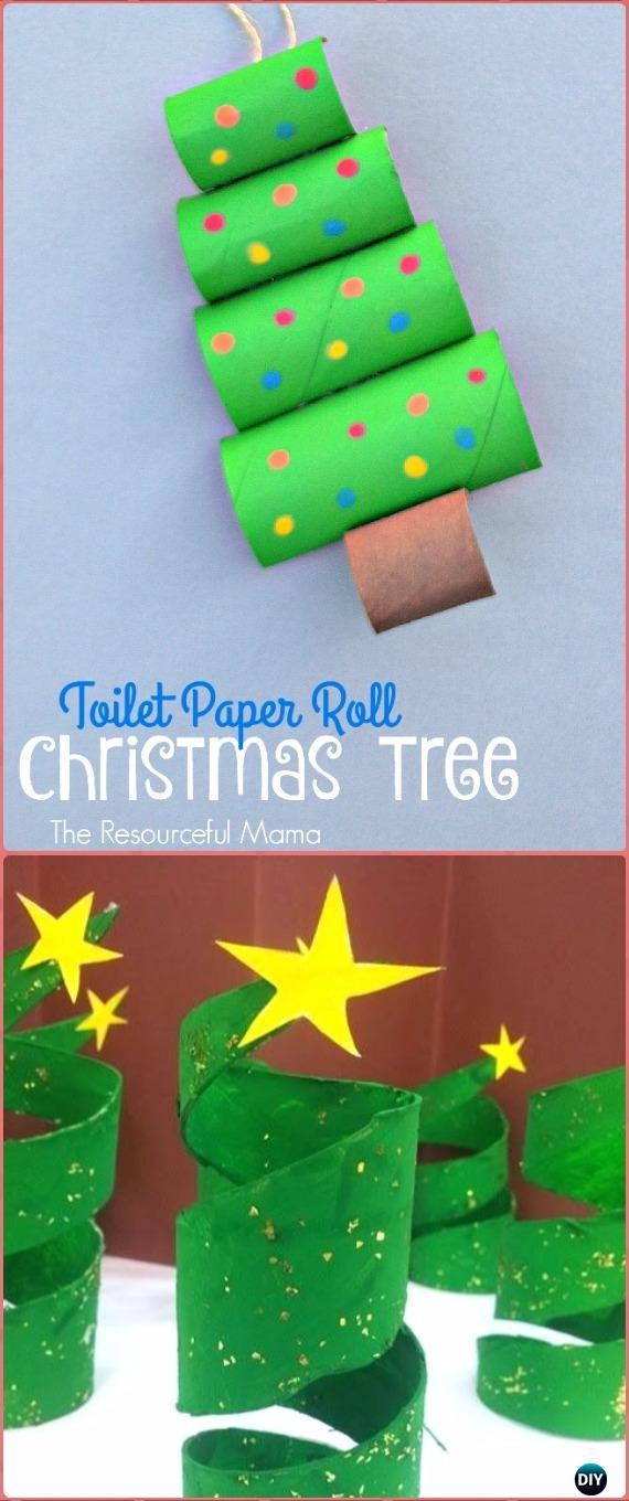 DIY Easy TP Roll Christmas Tree Tutorial - Paper Roll Christmas Craft Ideas & Projects