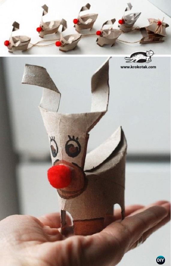 DIY Toilet Roll Christmas Deer Tutorial - Paper Roll Christmas Craft Ideas & Projects