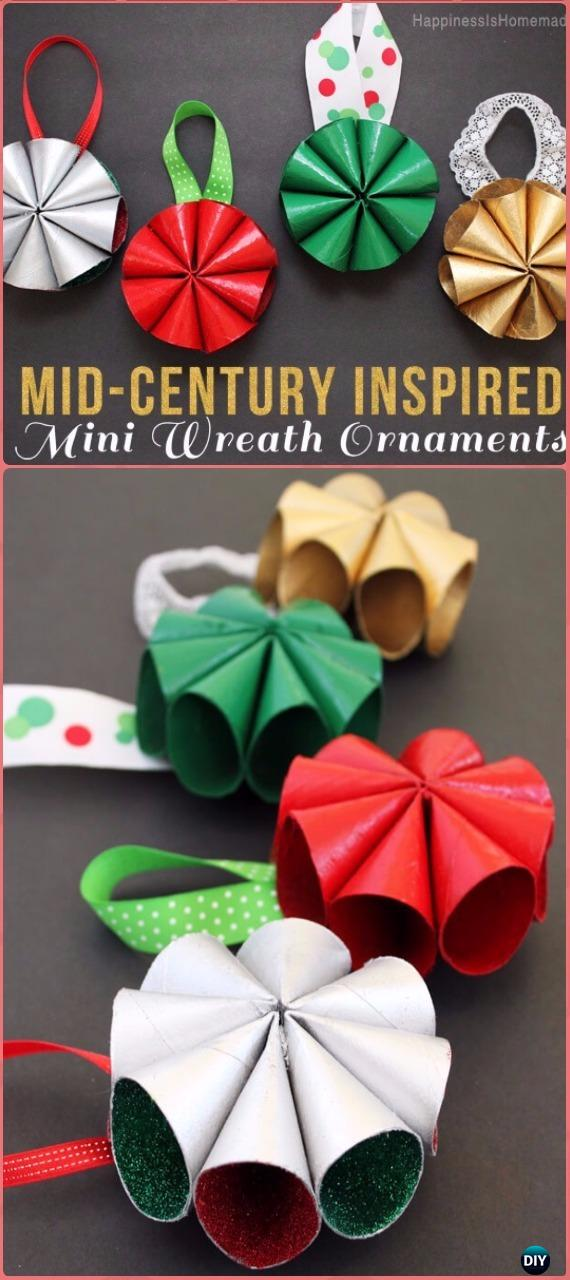 DIY Mini Wreath Christmas Ornament Tutorial - Paper Roll Christmas Craft Ideas & Projects