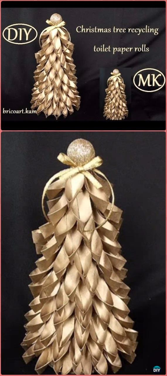 DIY Spray Paint Paper Roll Christmas Tree Tutorial - Paper Roll Christmas Craft Ideas & Projects
