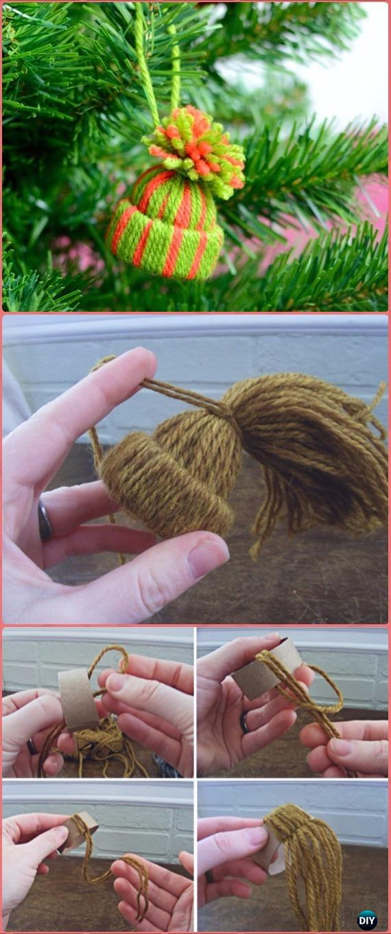 DIY Mini TP Roll Yarn Hats Ornaments Tutorial - Paper Roll Christmas Craft Ideas & Projects