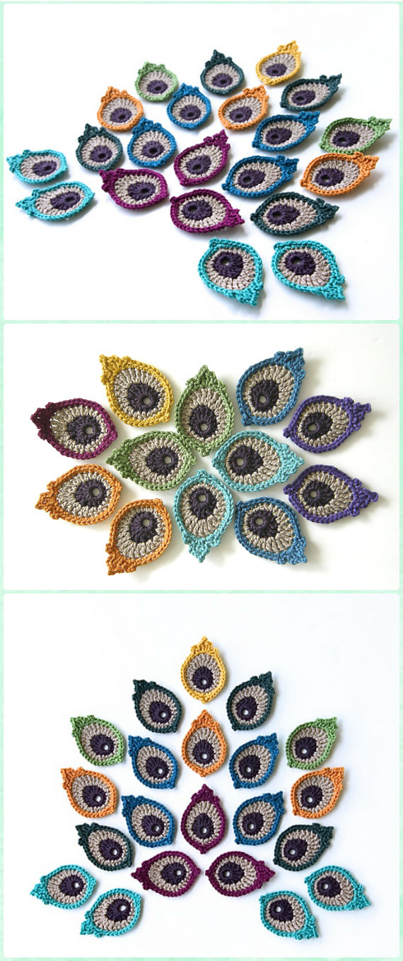 Crochet Peacock Eye Feather Motif Applique Pattern