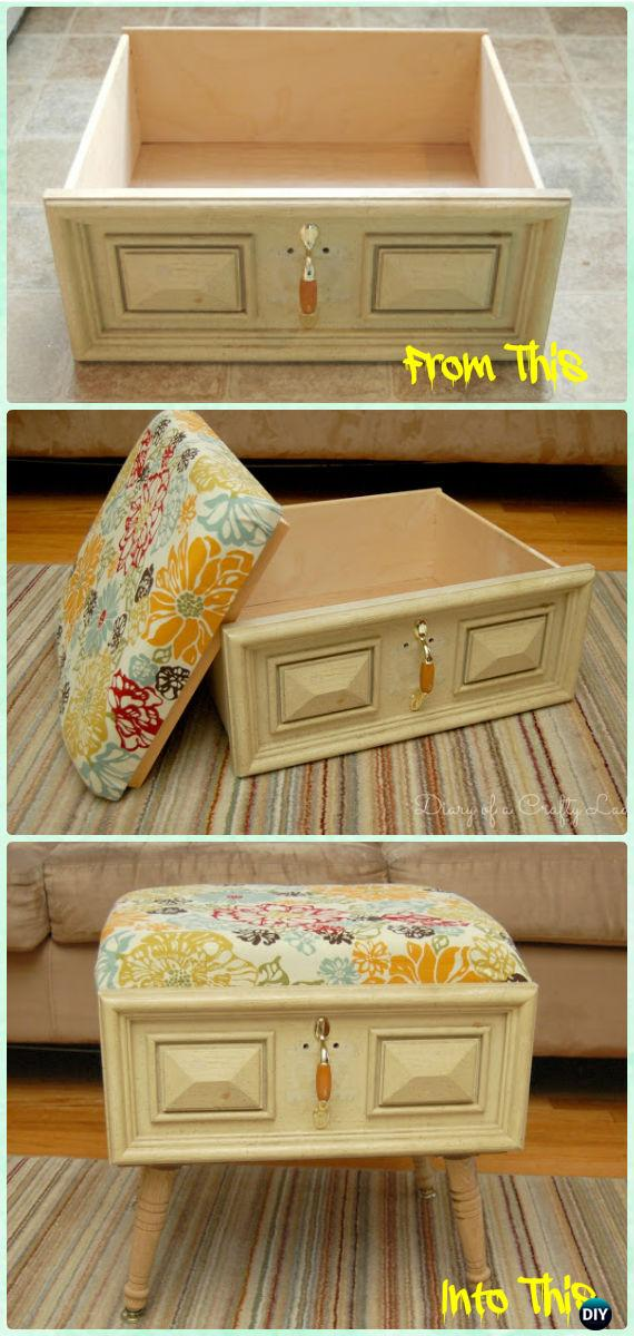Recycle old drawer furniture ideas projects with instructions for Recycling furniture decorating ideas