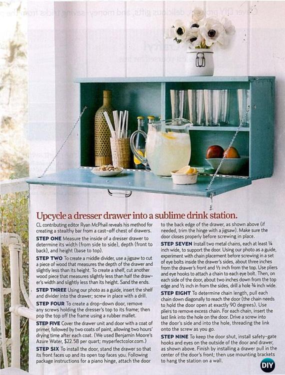 DIY Dresser drawer Drink Station Instruction - Practical Ways to Recycle Old Drawers for Home